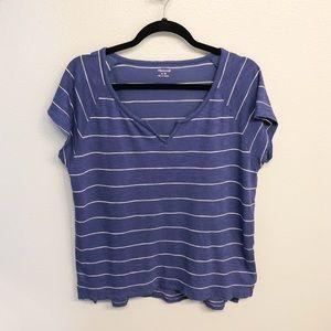 Madewell Blue Stripe Split V neck Tee size M